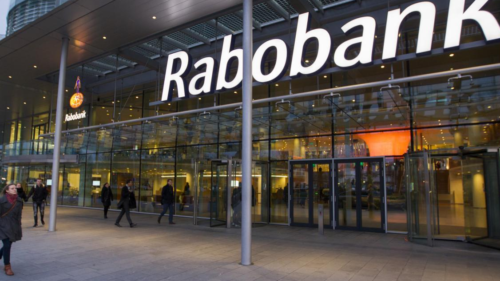 Outside of a Rabobank building showing their logo.