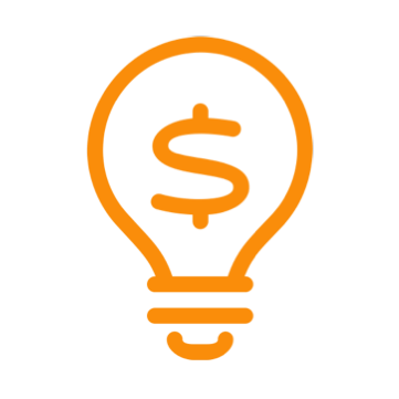 Light bulb with '$' sign on it icon