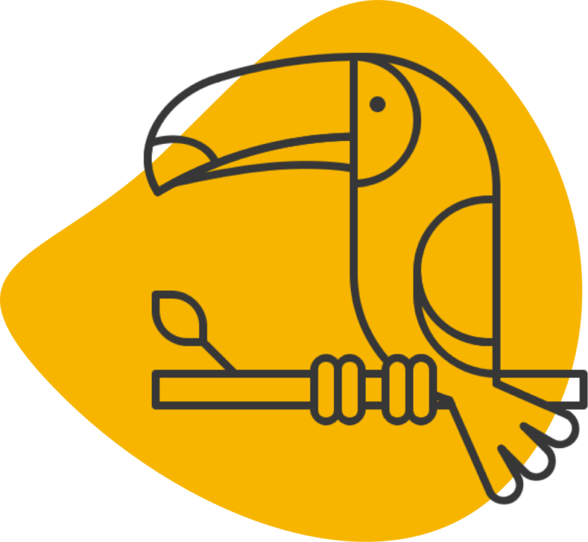 Toucan sitting on tree branch icon.